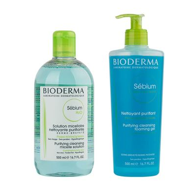 Bioderma Sebium H2O 500ml + Sebium Foaming Gel 500ml